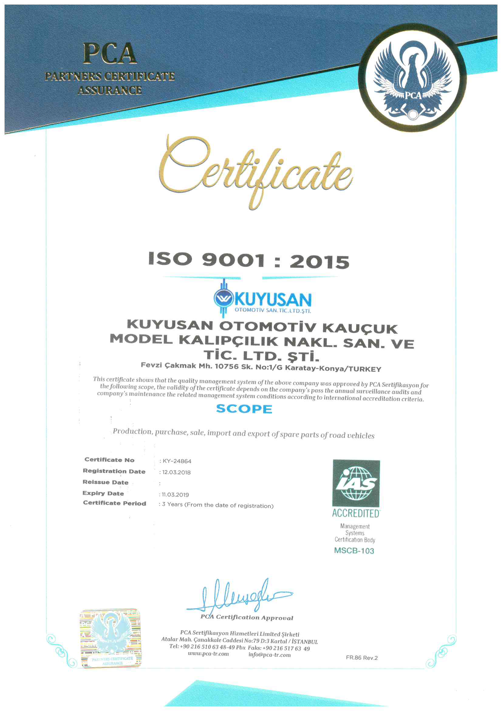 ISO 9001: 2015 quality certificate_1
