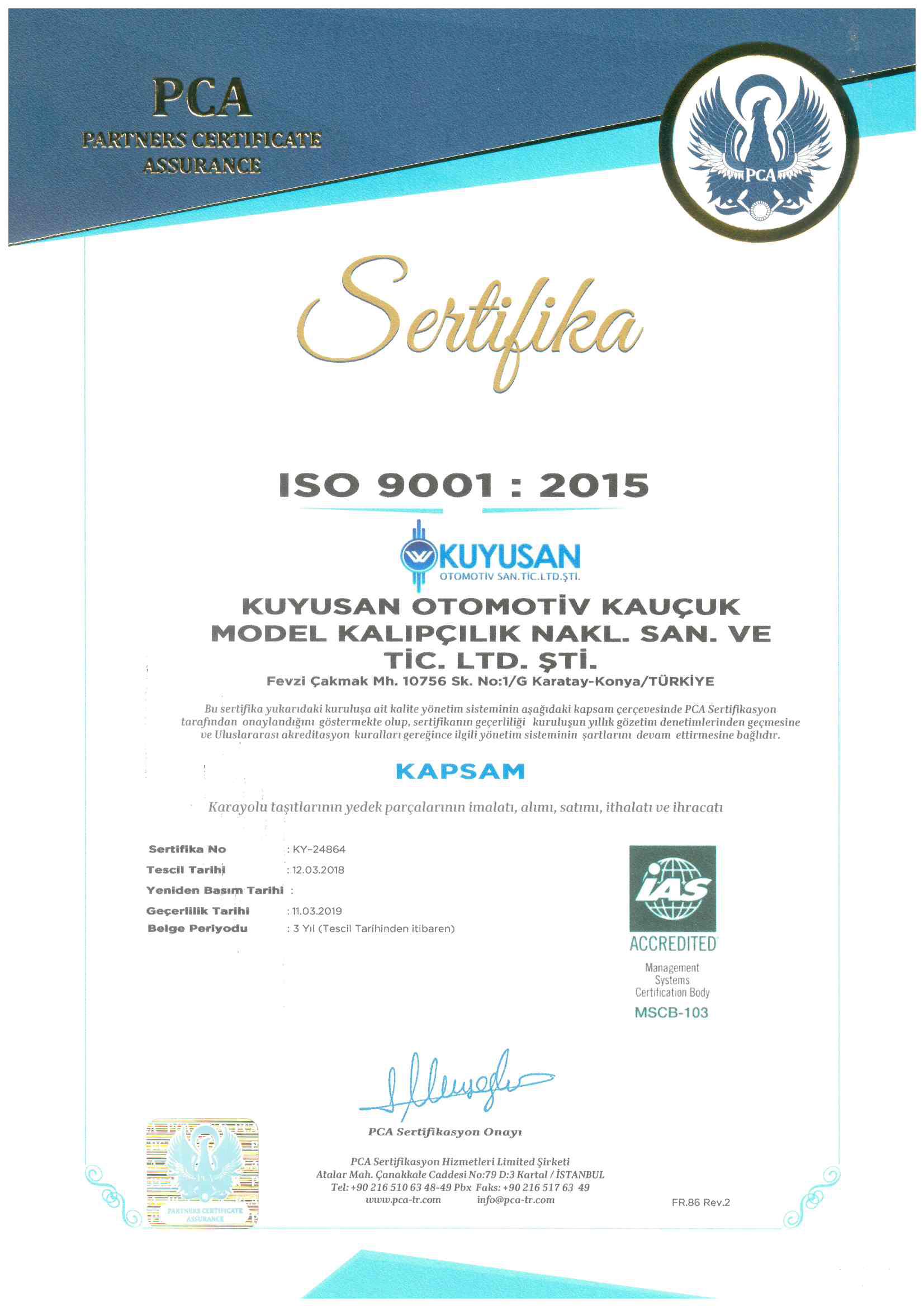 Certificat de qualité ISO 9001: 2015_0